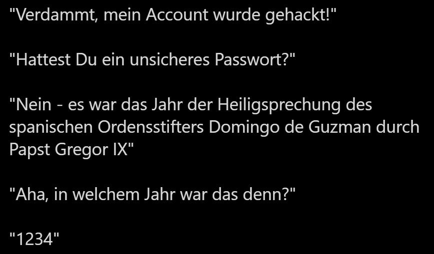 Passwort Papst 1234